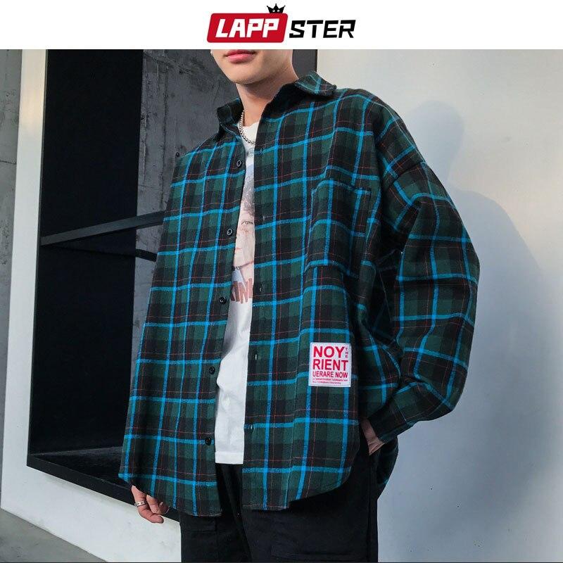 LAPPSTER Men Black Streetwear Plaid Shirt 2020 Mens Summer Shirts Long Sleeve Male Vintage Pocket Oversized Fashions Clothing