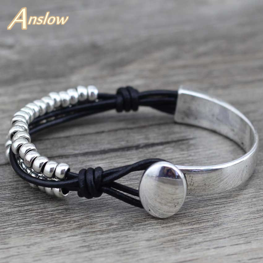 Anslow 2017 New Arrivals Sale Punk Rock Style New Unique Silver Plated Leather Bracelet Mother's Day Birthday Gift LOW0467LB