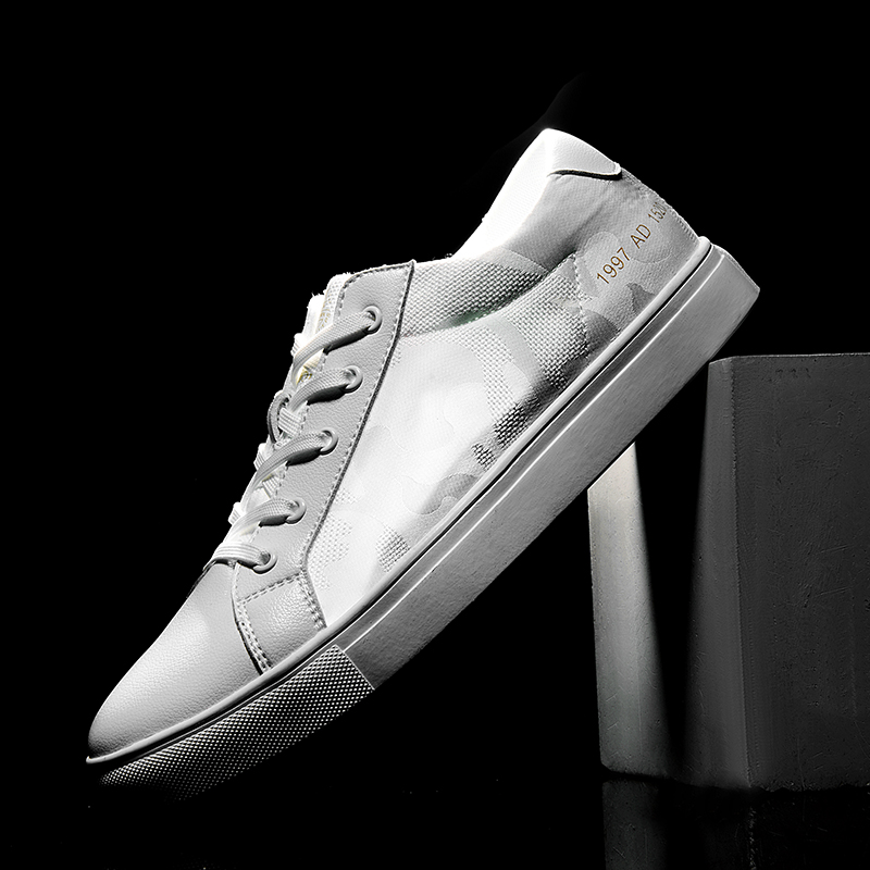 SUROM Breathable Mens Shoes Casual Luxury Brand Fashion Classic White Sneakers Hollow Man shoes Leather Genuine
