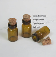 1000 X 1ml Mini Amber Glass Bottle with wood cork 13*24*6mm brown small glass sample vials wishes bottle