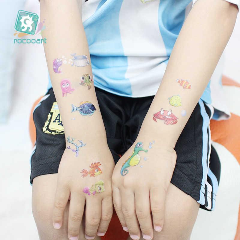 漫画熱帯魚一時的な水彩タトゥーステッカー防水 Chirdren Tatouage ファッション偽のボディアート子供の手タトゥー