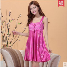 Nightgowns Women Silk Night Dress Solid Satin Robe Sexy Straps Lace Nightwear Women Lounge Sleepshirts