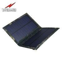 1x Wama Plegable Plegable Camuflaje Cargador 3 W Paneles Solares para Teléfonos Móviles Banco de la Energía 18650 Baterías USB Al Aire Libre A Prueba de agua