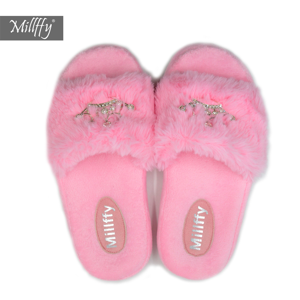 Millffy ergonomics massage sweet pv plush slippers princess crown bringbring diamond Ladies shoes pink girl home slippers millffy 2018 new summer sweet ladies shoes pink girl home slippers cotton indoor slip on knot stripe slippers
