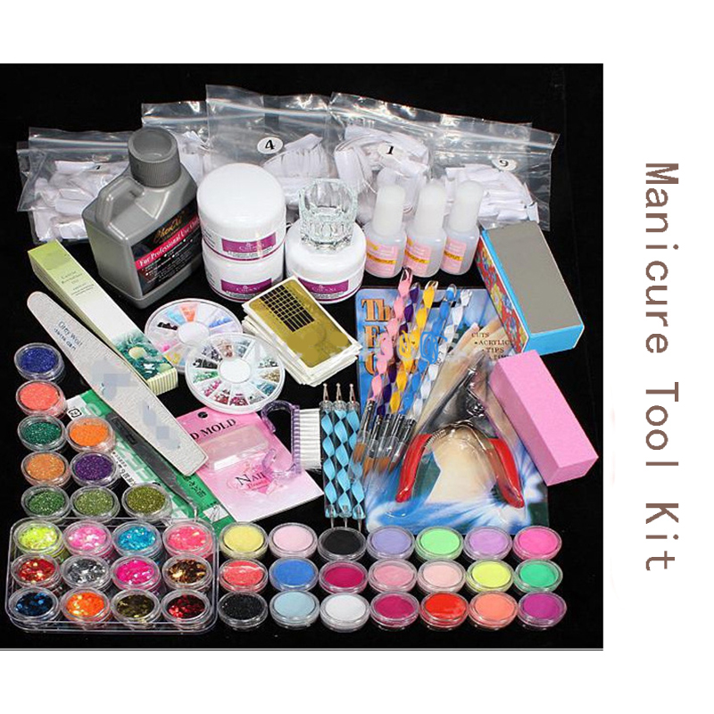 New Manicure Tool Kit Professional Acrylic Glitter Color Powder French Nail Art Deco Tips Set Nail Art Set 12pcs set nail art guide tips hollow stencils sticker french manicure template 3d vinyls decals form styling tool