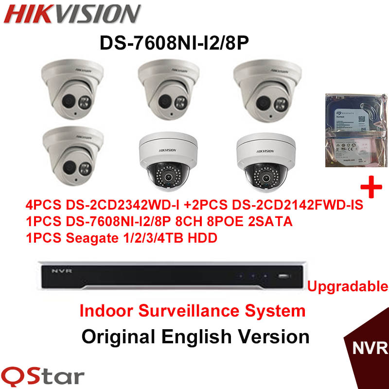Hikvision Original English Surveillance System 8ch 8poe H 265 NVR 4MP H 264 IP Camera 4xDS