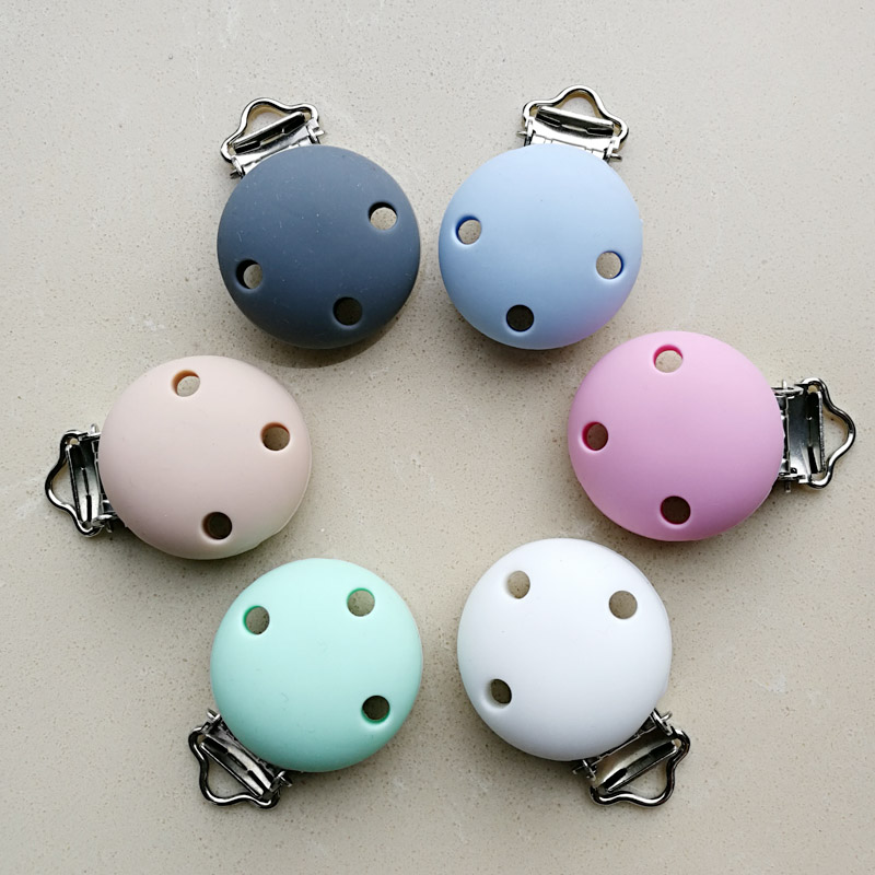 1pc New Round Shaped Pacifier Clip Silicone Bead Baby Teether & Wooden Teething Accessories Clip Nipple Clasps Toy DIY Bead Tool