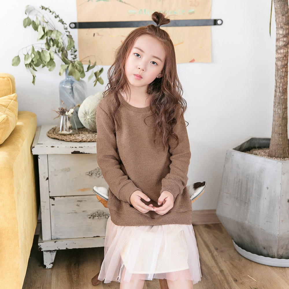 Elegant Dress for Girls Brown Knee-length A-line Dresses Solid Brief Children Clothing Thicken Warm Knitting Dress for Girls girls grid a line flared dress