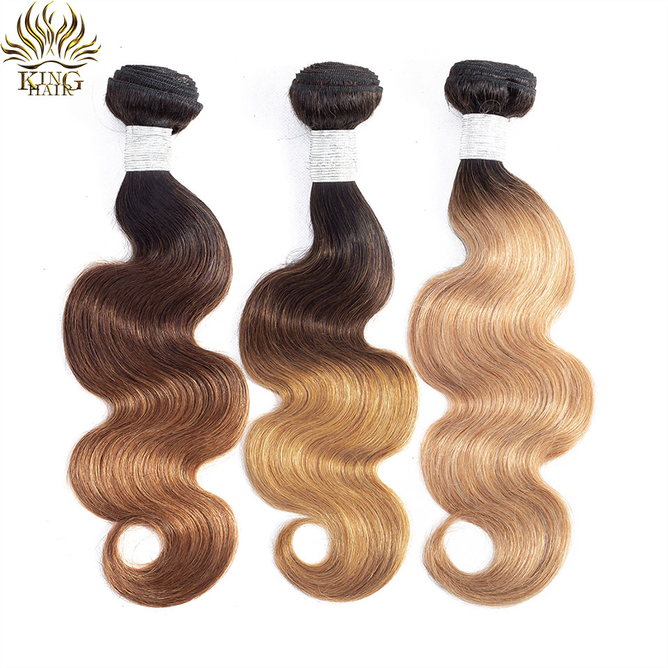 Bundles Hair-Colored Body-Wave Remy King Ombre 100%Human-Hair-Extensions Peruvian -99j/-27