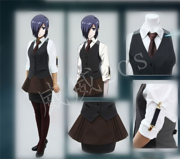 Tokyo Ghoul Touka Kirishima Working Uniform Cosplay Costume Custom Any Size for halloween blouse+skirt+waistcoat+apron+tie
