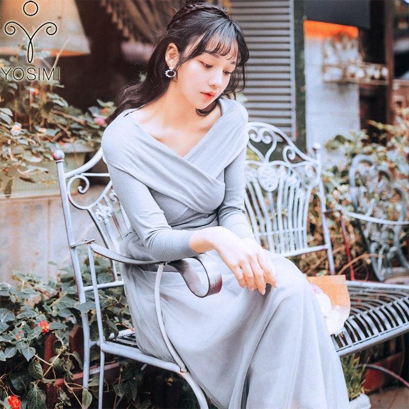 59cfe7fe965 Robe Longue Parti Yosimi Robes Femmes Élasticité Vintage Soirée Coton Maxi  Pleine Hiver 2018 Automne Tricot Manches Femme wqzxqPT0n