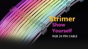 Image 2 - Lianli strimer 24 8 네온 라인 24 핀 전원 rgb psu 케이블/vga 8 p + 8 p 연장 어댑터 케이블 5 v 3pin D RGB 헤더 aura sync