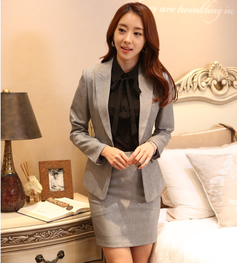 c662e57fa80 New Professional Business Suits With Jackets And Skirt Formal OL Styles  Spring Autumn Ladies Office Blazers Outfits Skirt Suits-in Skirt Suits from  Women s ...