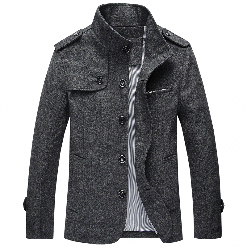 Autumn Winter Fashion Men Jacket Large Size M-4XL Stand Collar Classical Casual Thick Woolen Jacket Men Outwear Business Coats