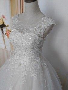 Image 3 - Robe de mariée pour mariées blanche avec paillettes en cristal, robe de mariée pour mariées, grande taille, avec bord en dentelle, ZJ9128, nouvelle collection 2019