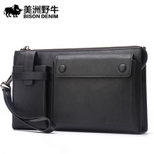 BISON DENIM Men Leather Genuine Business Large Capacity Clutch Bag Handbags High Quality Cowhide Wallet Men's Bag Free Shipping