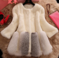 Autumn and winter women's Fashion long sleeve faux mink fur fox fur coat lady's medium-long thicken warm overcoat plus size