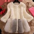 Outono e inverno das mulheres da Moda manga longa falso vison pele de raposa casaco de pele de médio-longo da senhora engrossar casaco quente plus size