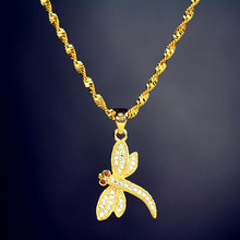 MMS Luxury Full Zircon Paved Dragonfly Pendant 18K Gold Plated Insect Short Necklace No Fade
