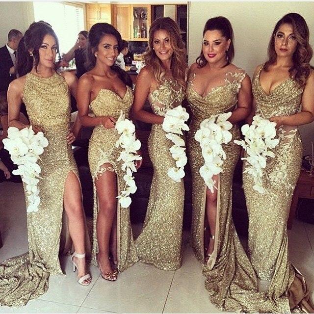 Cutom Made Plus Size vestido para madrinhas   bridesmaid     dress   side slit mermaid sparkly Gold Sequins 2019 Long   Bridesmaid     Dresses