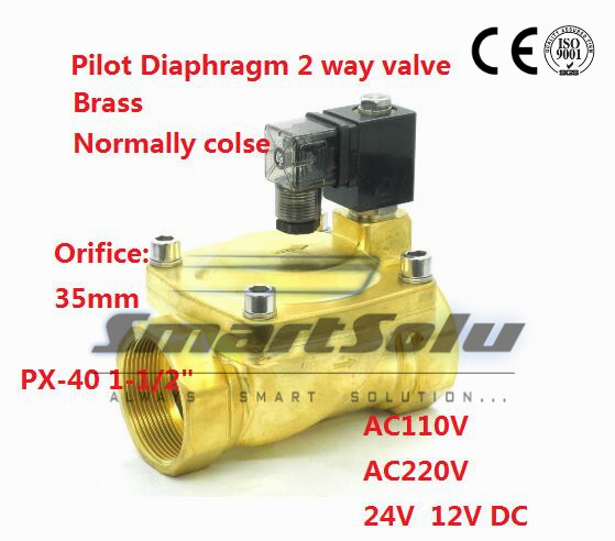 Free shipping 2 way Pilot Diaphragm Brass 220vAC water pneumatic normally closed electric Solenoid Valve 1 1/2 BSP35mmPX 40 NBR