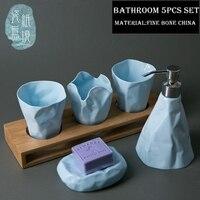 Flexagon абстрактное искусство керамической ванной 5 шт. комплект костяной фарфор мыть комплект туалетных принадлежностей чашка + Лосьон бутыл