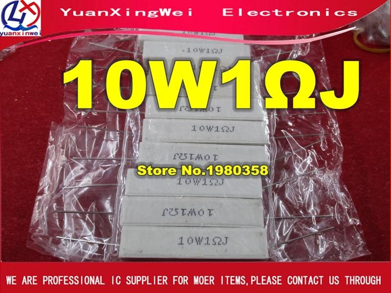 Free Shipping 10pcs Ceramic Cement Resistor 10W 1ohm 10w 1R 10W1ohm   Cement Resistance