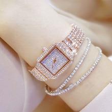 חם חדש נשים שעון יהלומים מלאכותיים שעונים ליידי יהלומי אבן שמלת שעון נירוסטה צמיד שעוני יד גבירותיי קריסטל שעון