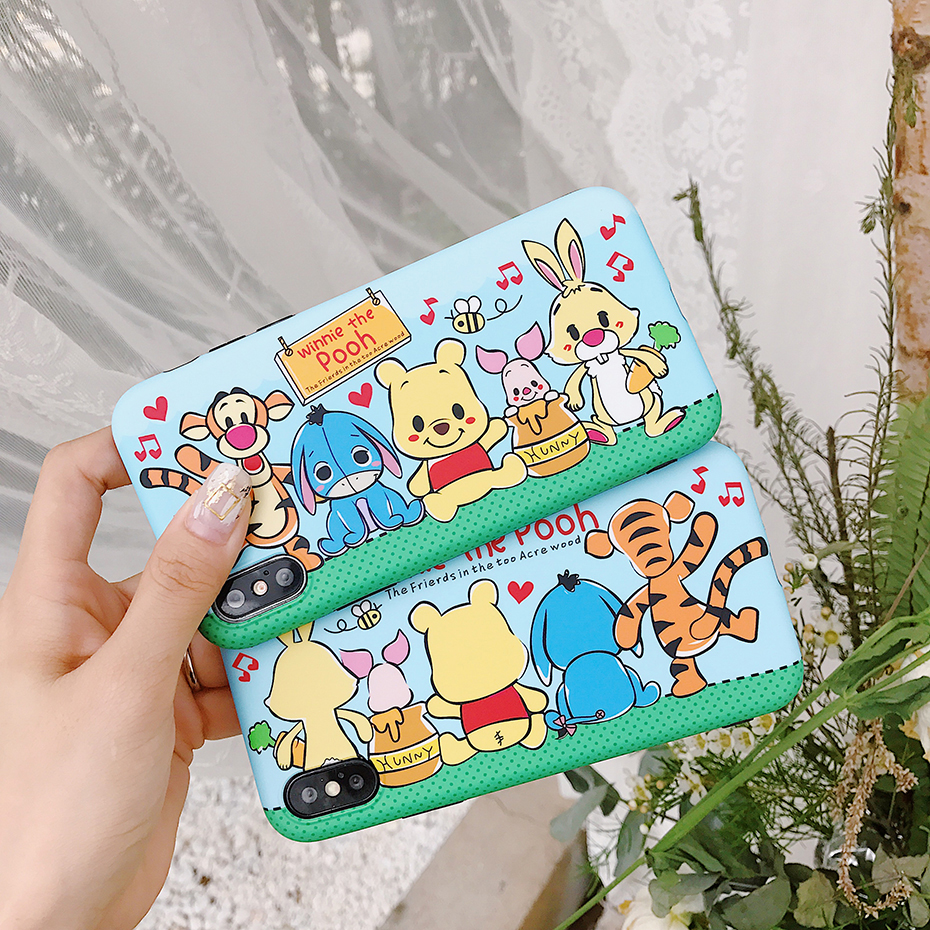 Beily Cute Winnie Pooh Case for iPhone XS Max Cartoon Case for iPhone XS Max XR X 8 7 6 6S Plus Matte Cover for iPhone 8 7 Plus