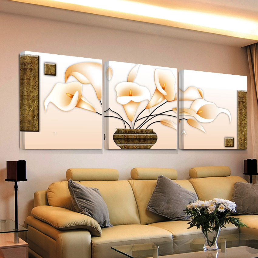 3 piece picture modular flowers painting flower hd print