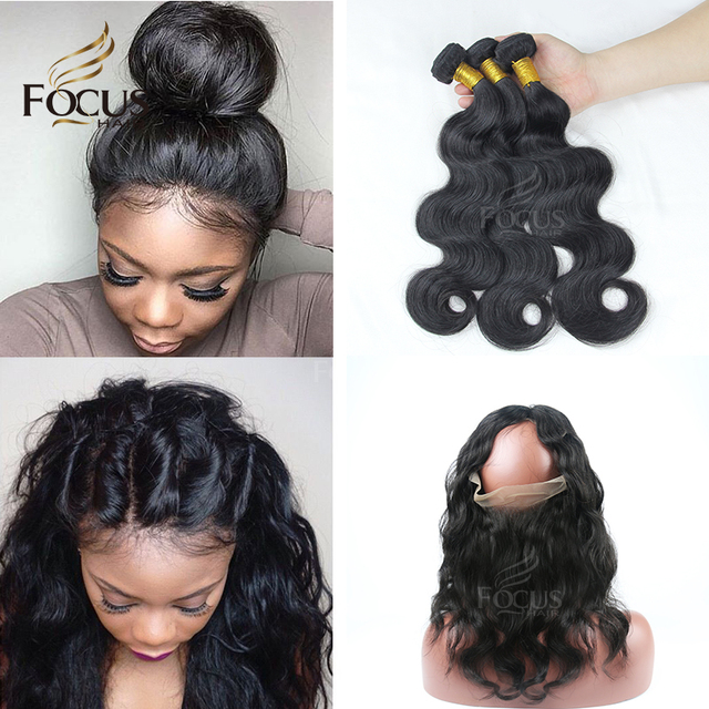 Pre Plucked 360 Lace Frontal With Bundles Brazilian Body Wave Virgin Human Hair  360 Lace Frontal