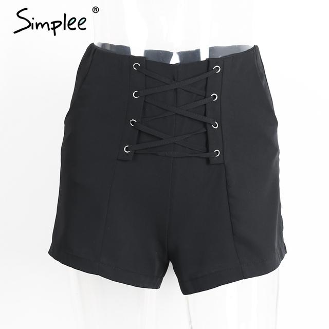 Simplee Cross lace up shorts women Sexy zipper high waist shorts Winter 2016 new style casual beach pocket shorts