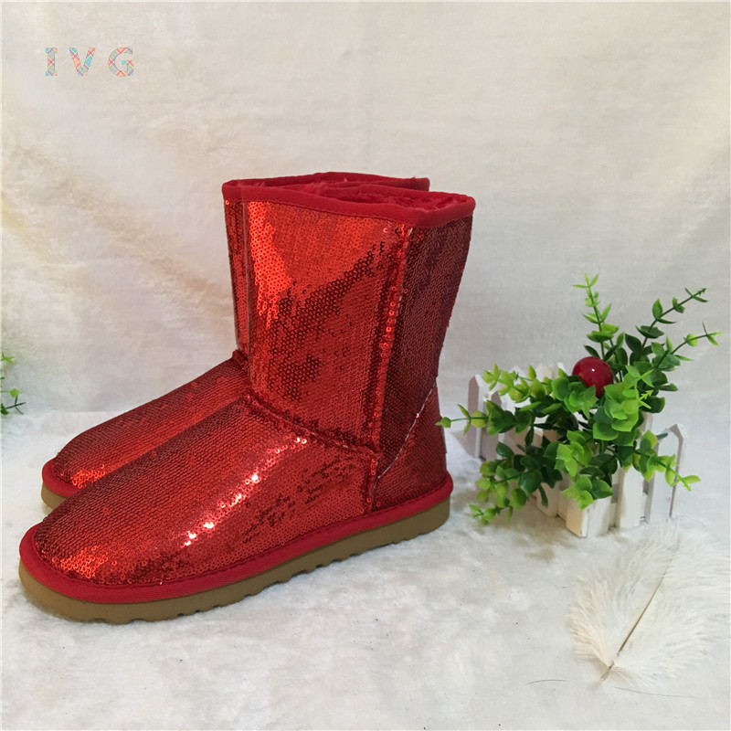 new 2017 Women's winter boots Australia Classic Short Sparkles Snow Boots Ugs Keep warm Sequins Boots Brand IVG size 5-10
