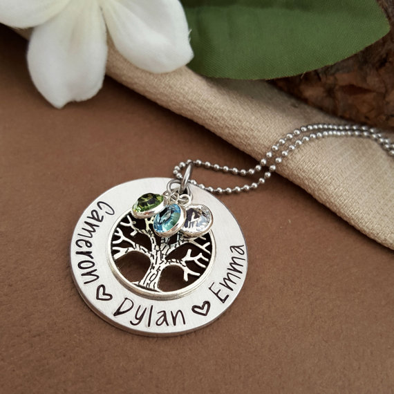 Personalized Silver Necklace Family Tree Mom Necklace