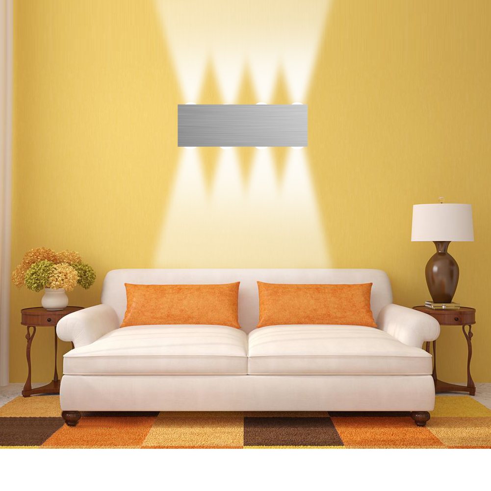 Silver Aluminum 8W High Power LED Light 85 260V Wall Sconce Night Hall Lobby Living Room Decoration Fixture Lamp