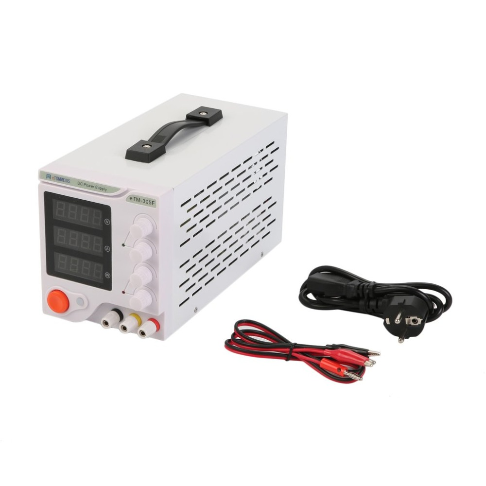 (Ship From DE)Four Digit Display Professional 0-30V 0-5A DC Power Supply Device For Workshops Laboratory eTM-305F EU Plug ship from de four digit display professional 0 30v 0 5a dc power supply device for workshops laboratory etm 305f eu plug