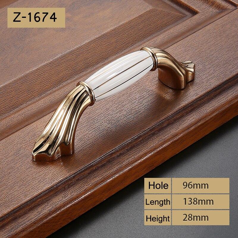Роскошный Золотой цинковый сплав ручки ящика шкафа Европейский шкаф Мебельная ручка с винтом - Цвет: Z-1674-96
