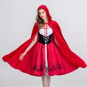 Little Red Riding Hood Costume For Women Fancy Adult Halloween Cosplay Fantasia Dress+Cloak Cosplay Costume For Party halloween little red riding hood costume sexy women storybook hen party fantasia fancy dress