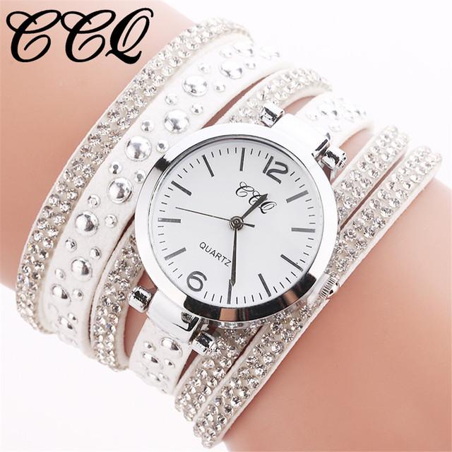 CCQ Women Watches  reloj mujer Stainless Steel Mesh Quartz Wristwatch Rhinestone  Bracelet Fashion  Ladies  Watch Woman  19JAN8
