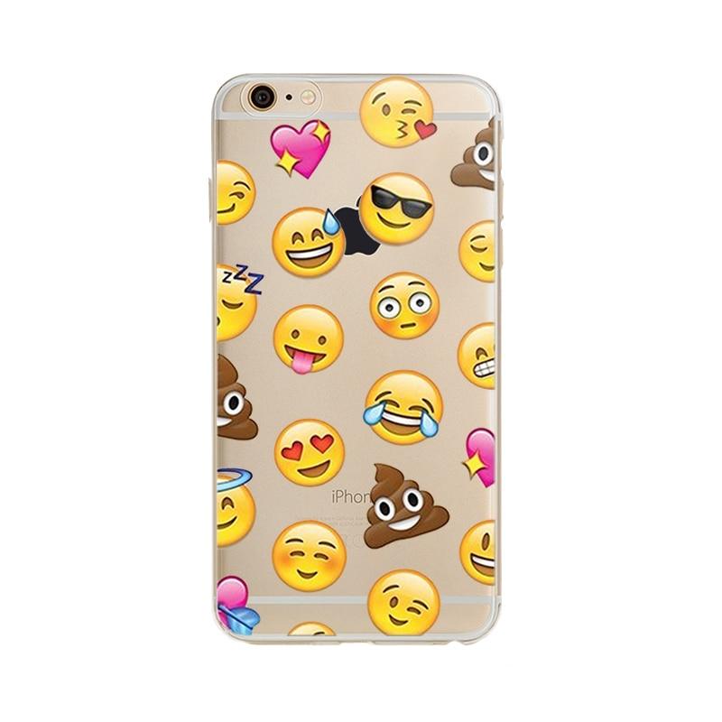 Clear TPU Funny Emoji Case For iphone 5 5S SE 6 6S 7 Plus