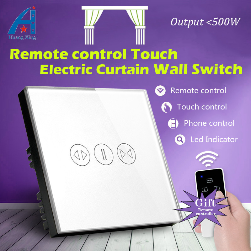 UK Standard New 500w Electric Curtain Touch Switch, With Wireless remote control, High quality Crystal Glass Panel Wall Switch 2017 free shipping smart wall switch crystal glass panel switch us 2 gang remote control touch switch wall light switch for led
