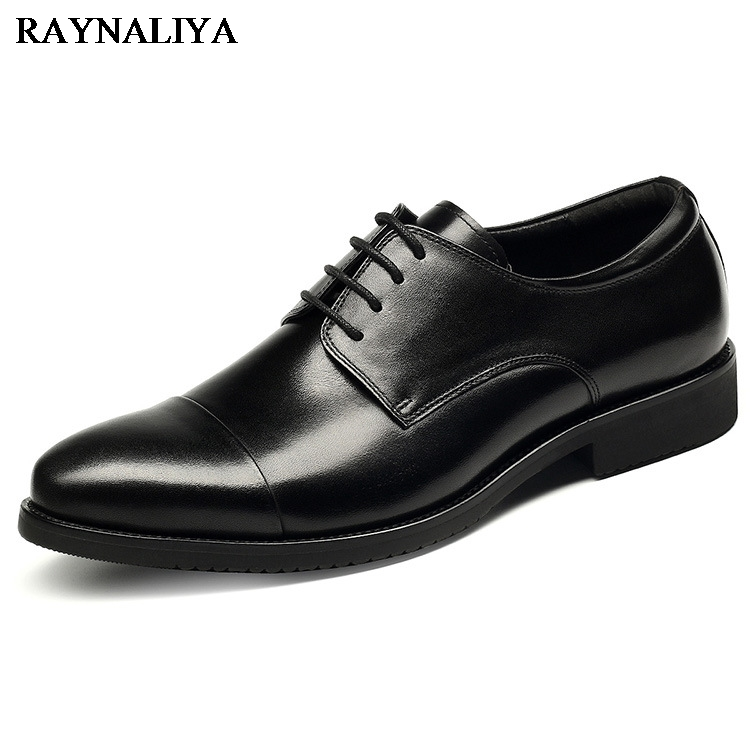 Luxury Brand Classic Man Round Toe Dress Shoes Mens Genuine Leather Black Wedding Shoes Oxford Formal Shoes Big Size YJ-A0005 mycolen mens shoes round toe dress glossy wedding shoes patent leather luxury brand oxfords shoes black business footwear