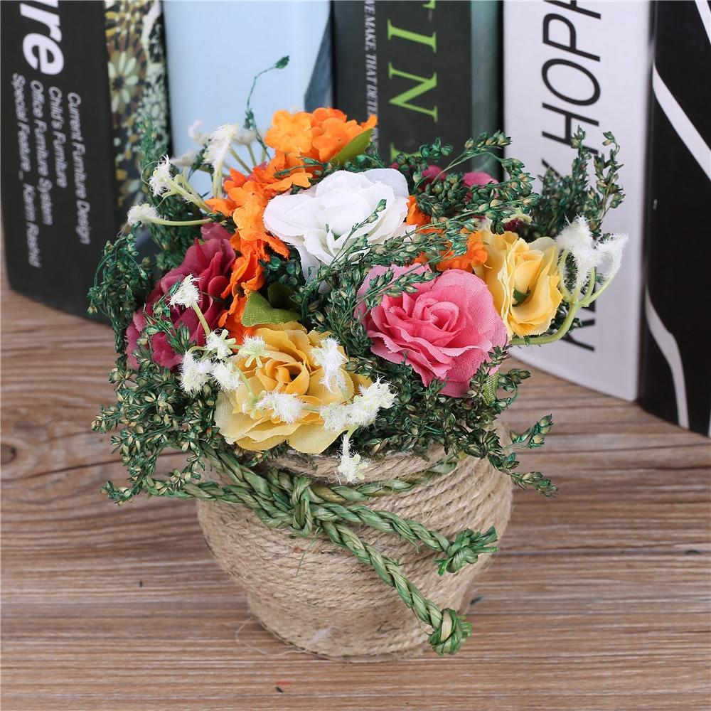Tulokas! Halpa keinotekoinen kukka-asetelma Koristeellinen ruukkunut - Tavarat lomien ja puolueiden - Valokuva 3