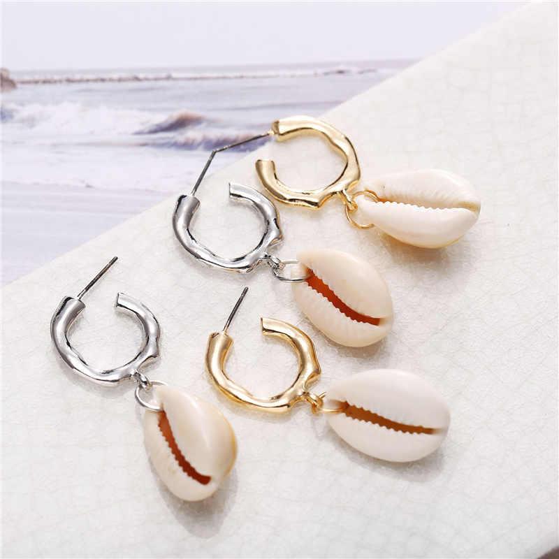 Nieuwe Sea Shell Hanger Oorbellen Goud Kleur Statement Oorbellen Voor Vrouwen Bruiloften Party Onregelmatige Geometrische Sieraden Gift