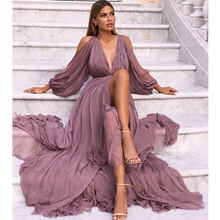 Multiflora Chiffon Maxi Dress Long Sleeve Boho Deep V Neck Dress Women  Summer 2019 Lantern Sleeve Bohemia Sundresses cf98e0c08cb9