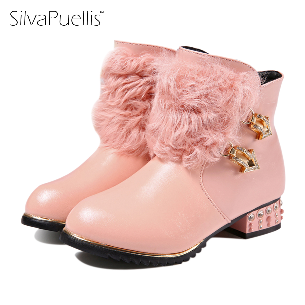 SilvaPuellis 2017 New Winter Simple stylish snow boots for girls Children princess Rubber Low-Heels warm boots silvapuellis 2017 new winter simple stylish snow boots for girls children princess rubber low heels warm boots