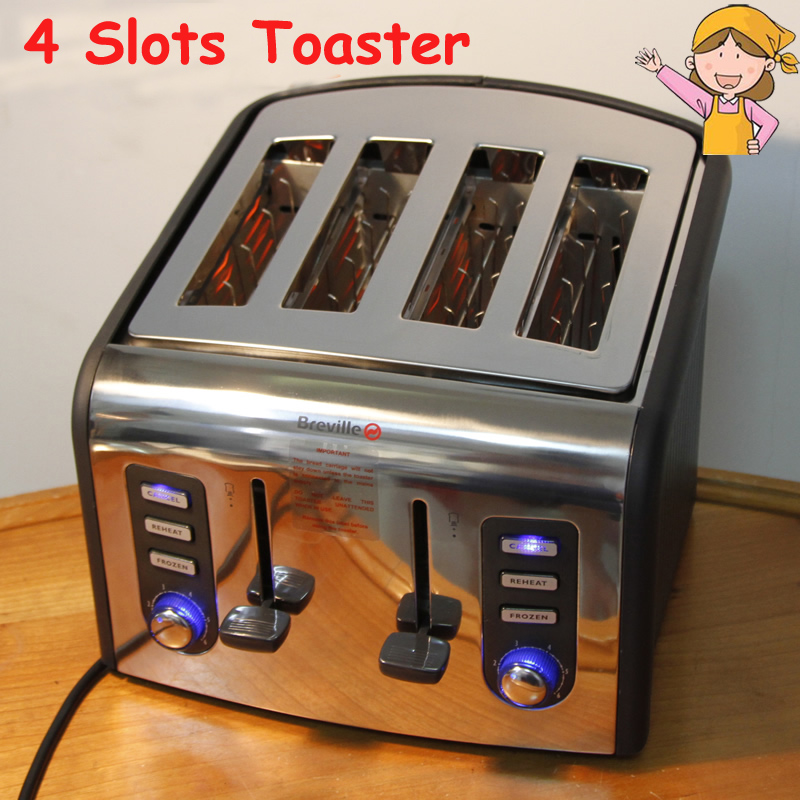 4 Slots Toaster Home Automatic Breakfast Bread Maker 220V Stainless Steel Bread Baking Machine CFDQ004