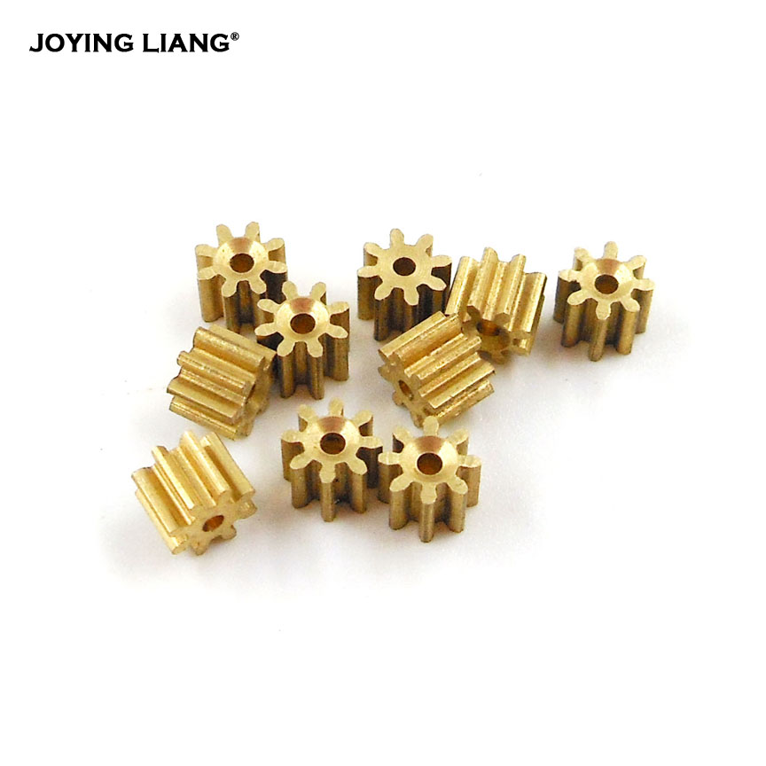 81A 0.4M / 82A 0.5M Copper Gear 8 Teeth Aircraft Parts Toy Model Spindle Pinion Shaft Hole 1mm/ 2mm 10PCS/LOT