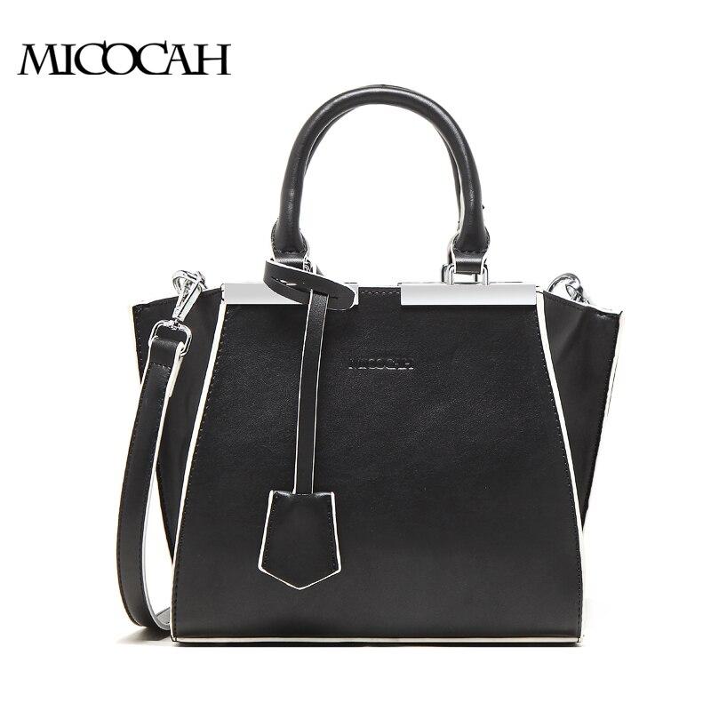 MICOCAH Fashion Tote handbag Famous Brand Black Women Bag Big Female Shoulder Bags 2 Colors Black/White GH50014 micocah brand women messenger bags solid color fashion female bag 4 colors black blue grey green gn40007