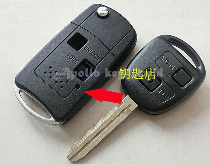 D'entrée sans clé 2 Boutons Bascule Modifié Pliage Télécommande de la Clé Cas Fob Shell Pour Toyota Camry Prado Ville RAV4
